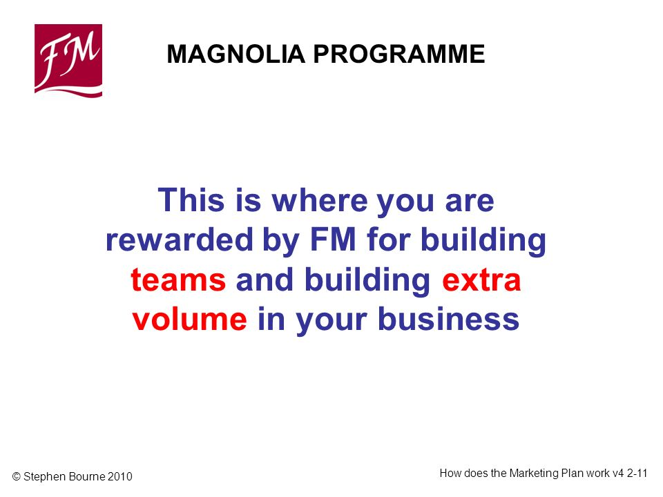 © Stephen Bourne 2010 How does the Marketing Plan work v4 2-11 MAGNOLIA PROGRAMME This is where you are rewarded by FM for building teams and building