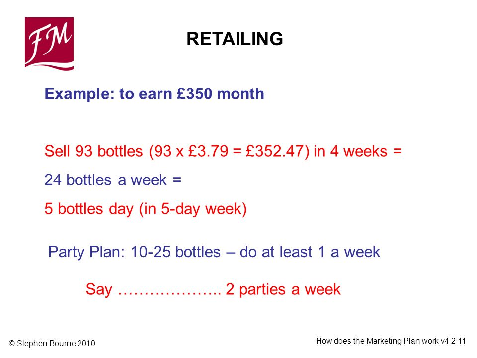 © Stephen Bourne 2010 How does the Marketing Plan work v4 2-11 Example: to earn £350 month Sell 93 bottles (93 x £3.79 = £352.47) in 4 weeks = 24 bott