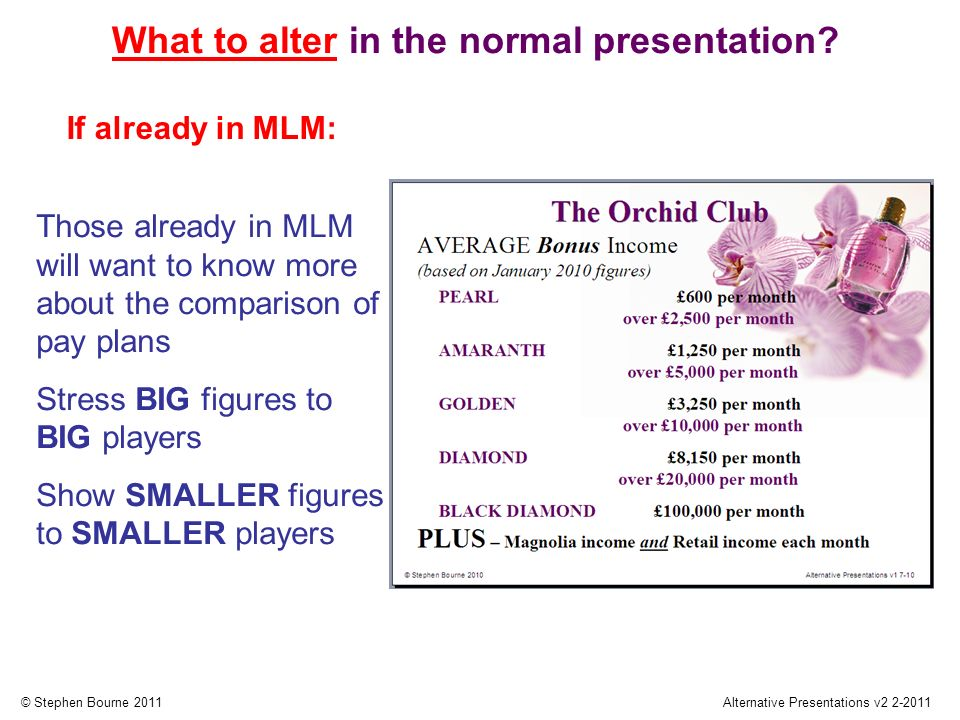 © Stephen Bourne 2011Alternative Presentations v2 2-2011 Those already in MLM will want to know more about the comparison of pay plans Stress BIG figures to BIG players Show SMALLER figures to SMALLER players If already in MLM: What to alter in the normal presentation
