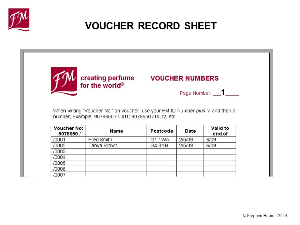 © Stephen Bourne 2009 VOUCHER RECORD SHEET
