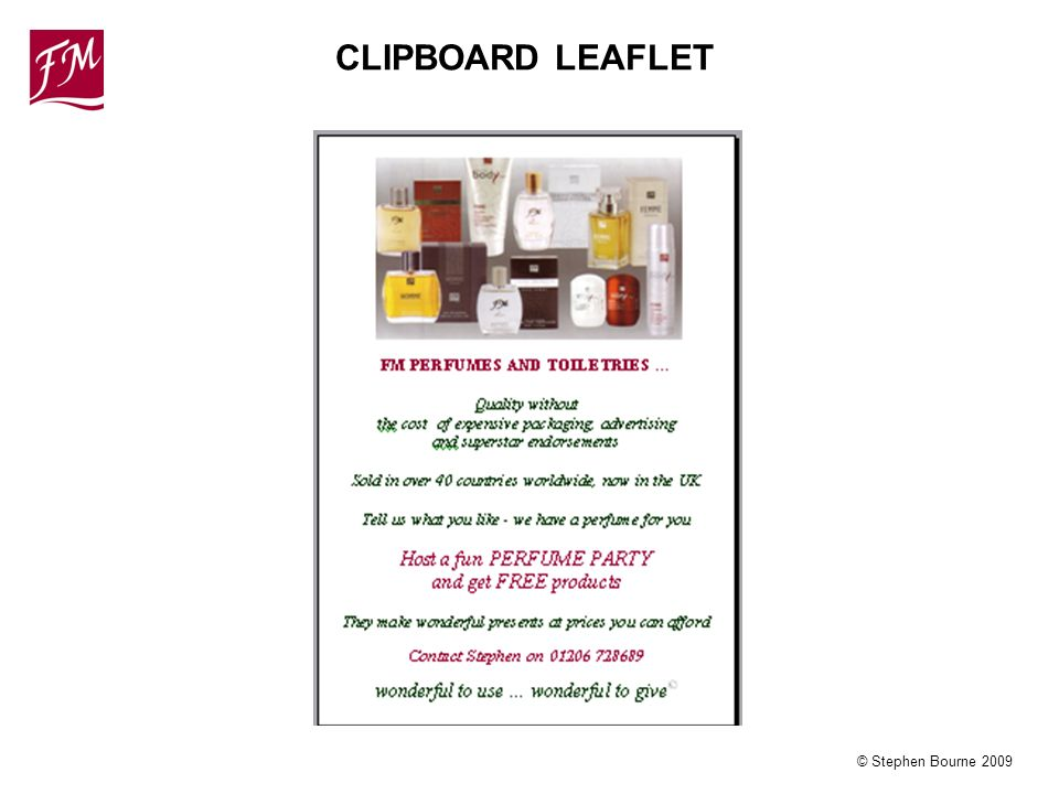 © Stephen Bourne 2009 CLIPBOARD LEAFLET