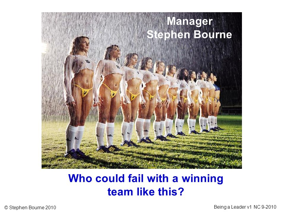 © Stephen Bourne 2010 Being a Leader v1 NC 9-2010 Manager Stephen Bourne Who could fail with a winning team like this?
