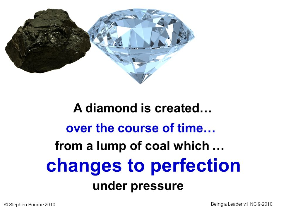 © Stephen Bourne 2010 Being a Leader v1 NC 9-2010 A diamond is created… over the course of time… from a lump of coal which … changes to perfection und