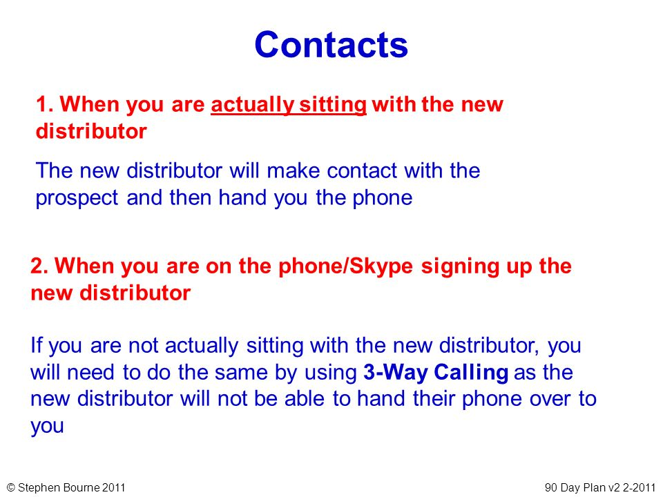 © Stephen Bourne 201190 Day Plan v2 2-2011 Contacts 2. When you are on the phone/Skype signing up the new distributor If you are not actually sitting