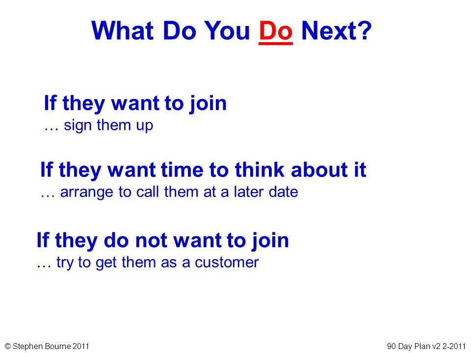 © Stephen Bourne 201190 Day Plan v2 2-2011 What Do You Do Next? If they want to join … sign them up If they do not want to join … try to get them as a