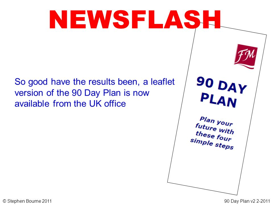 © Stephen Bourne 201190 Day Plan v2 2-2011 NEWSFLASH So good have the results been, a leaflet version of the 90 Day Plan is now available from the UK