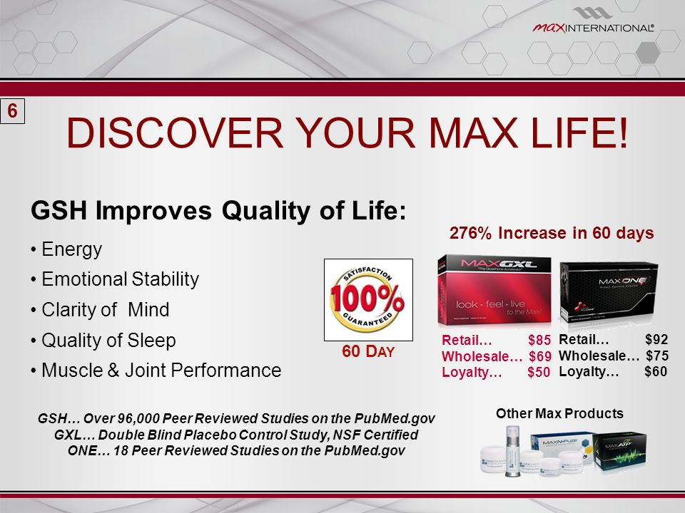 GSH Improves Quality of Life: Energy Emotional Stability Clarity of Mind Quality of Sleep Muscle & Joint Performance DISCOVER YOUR MAX LIFE! GSH… Over
