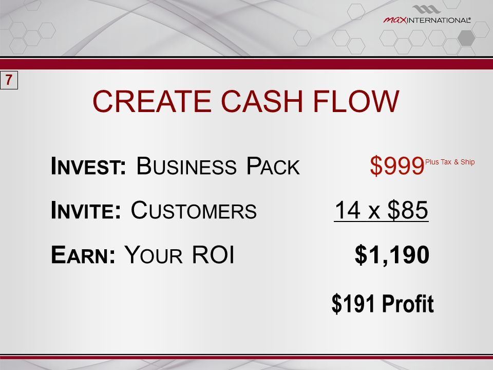 CREATE CASH FLOW I NVEST : B USINESS P ACK $999 Plus Tax & Ship I NVITE : C USTOMERS 14 x $85 E ARN : Y OUR ROI $1,190 7 $191 Profit
