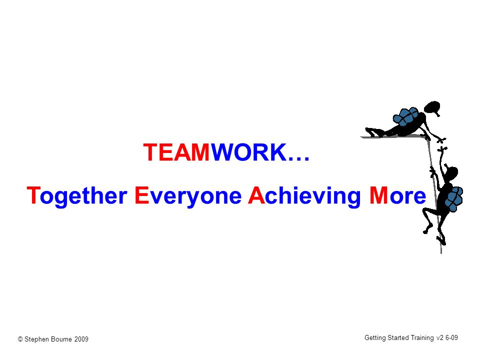 Getting Started Training v2 6-09 © Stephen Bourne 2009 TEAMWORK… Together Everyone Achieving More