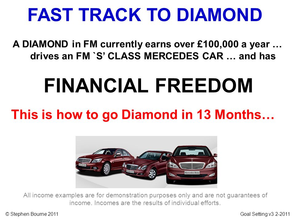 © Stephen Bourne 2011 Goal Setting v3 2-2011 A DIAMOND in FM currently earns over £100,000 a year … drives an FM `S CLASS MERCEDES CAR … and has All i