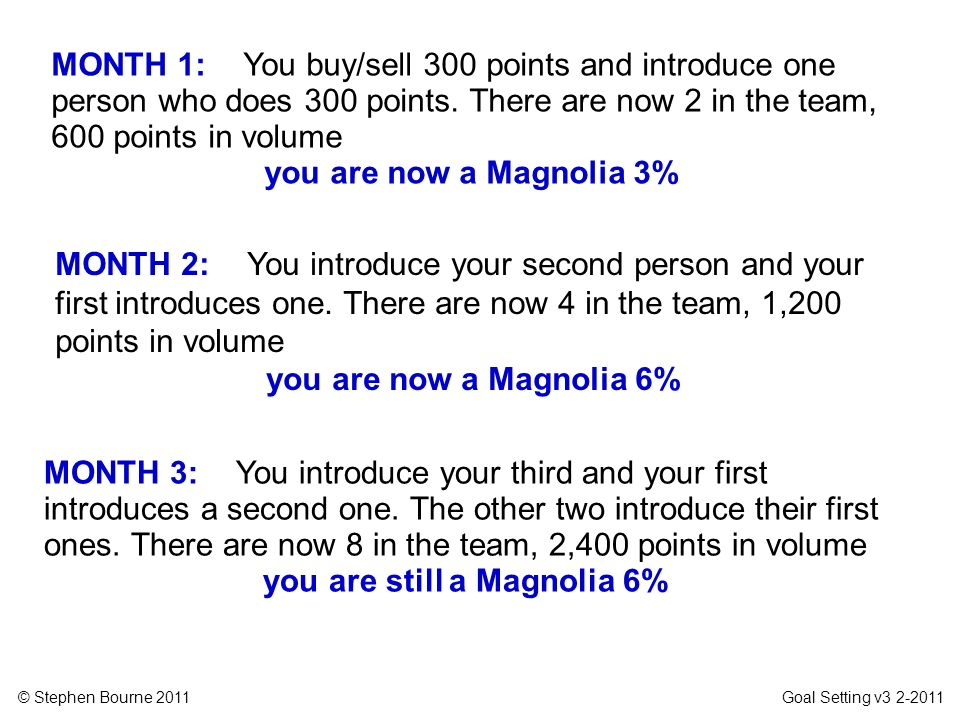 © Stephen Bourne 2011 Goal Setting v3 2-2011 MONTH 1: You buy/sell 300 points and introduce one person who does 300 points. There are now 2 in the tea