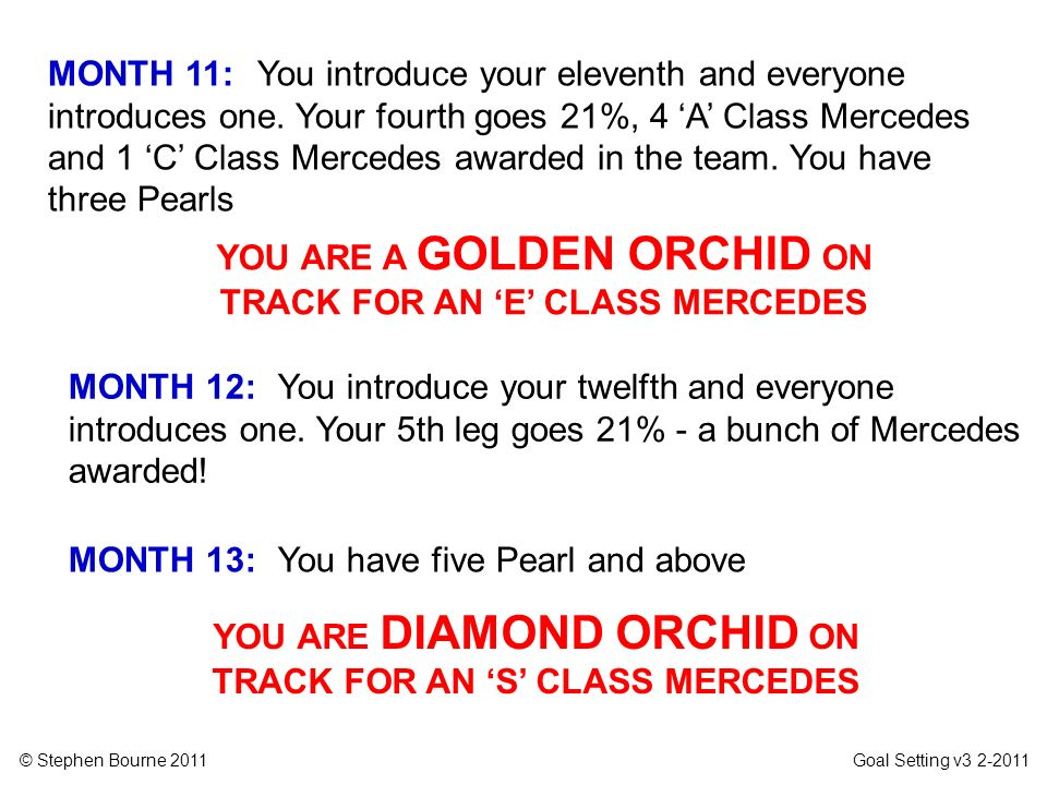 © Stephen Bourne 2011 Goal Setting v3 2-2011 MONTH 12: You introduce your twelfth and everyone introduces one. Your 5th leg goes 21% - a bunch of Merc