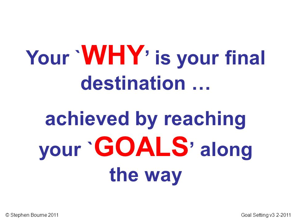 © Stephen Bourne 2011 Goal Setting v3 2-2011 Your ` WHY is your final destination … achieved by reaching your ` GOALS along the way