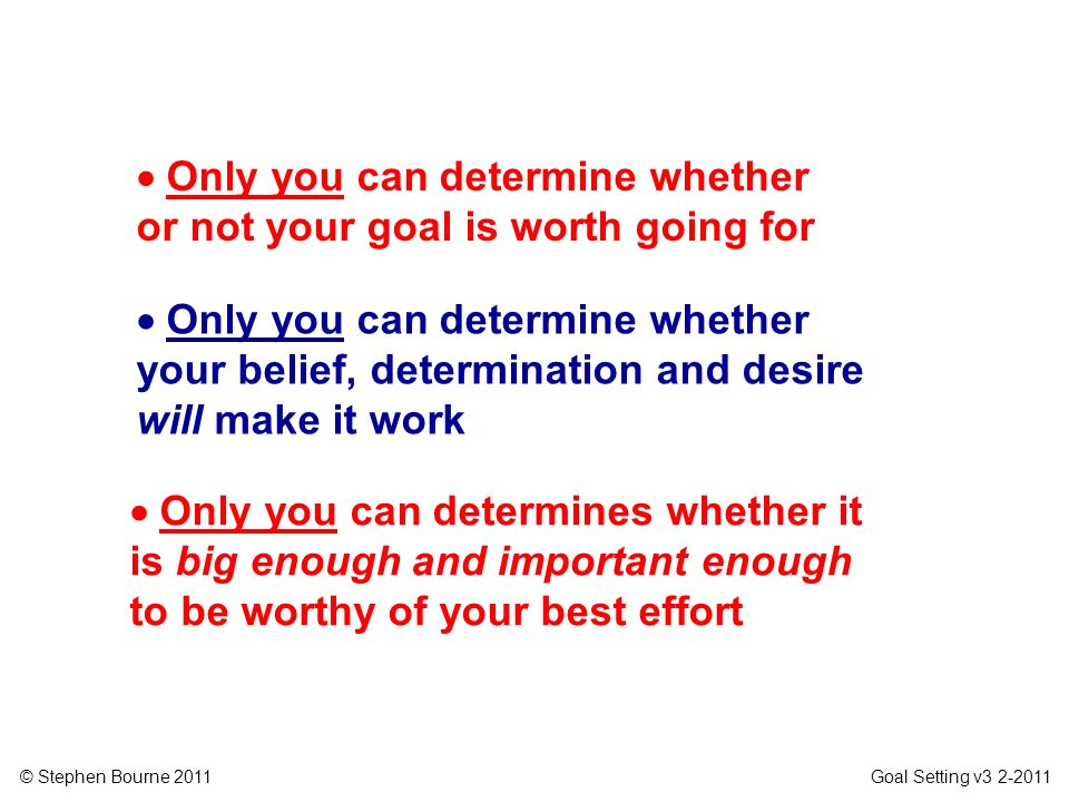 © Stephen Bourne 2011 Goal Setting v3 2-2011 Only you can determine whether your belief, determination and desire will make it work Only you can deter