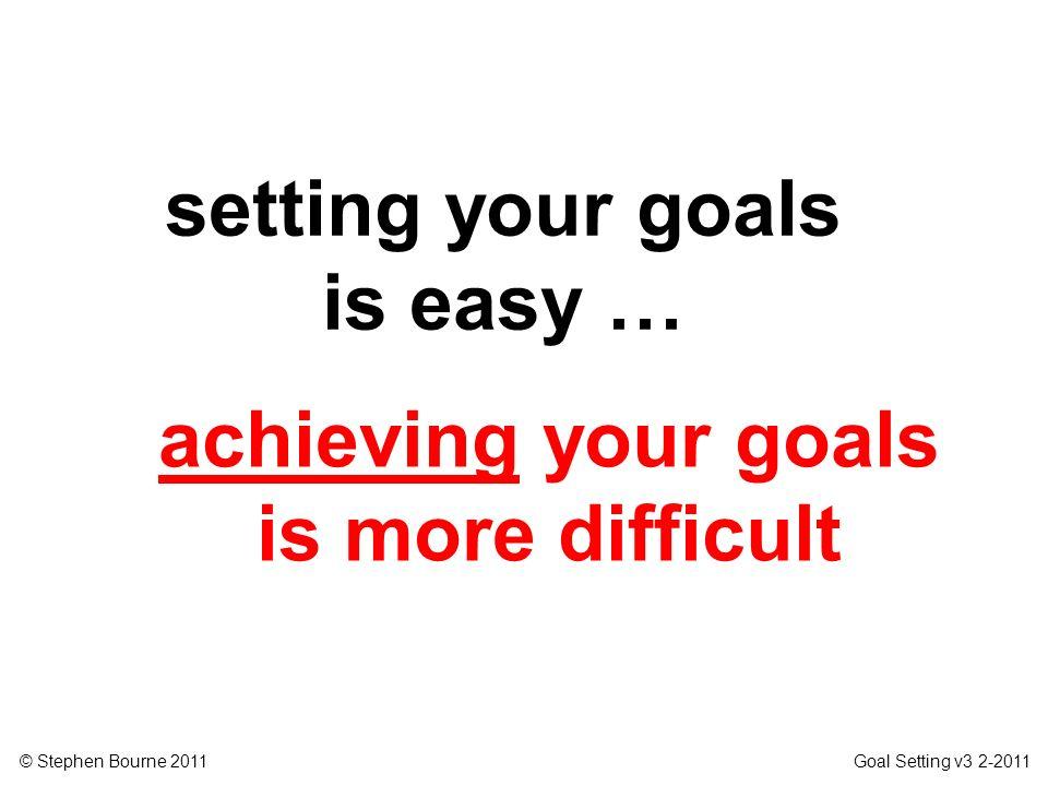 © Stephen Bourne 2011 Goal Setting v3 2-2011 achieving your goals is more difficult setting your goals is easy …