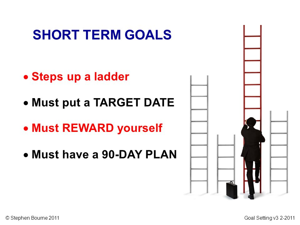 © Stephen Bourne 2011 Goal Setting v3 2-2011 SHORT TERM GOALS Steps up a ladder Must put a TARGET DATE Must REWARD yourself Must have a 90-DAY PLAN
