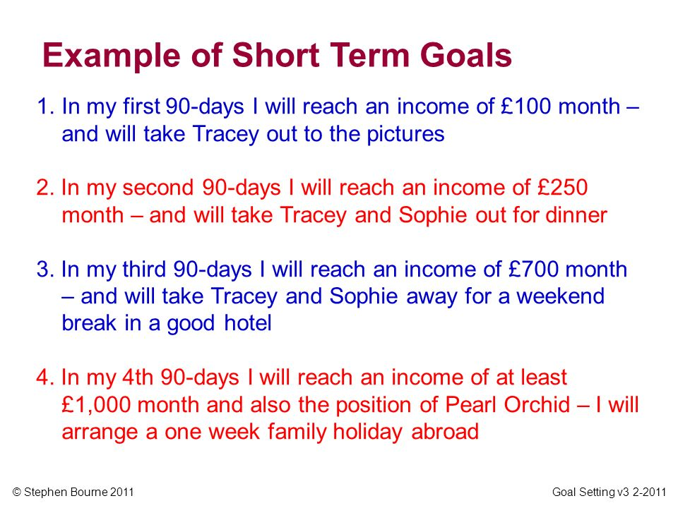 © Stephen Bourne 2011 Goal Setting v3 2-2011 1.In my first 90-days I will reach an income of £100 month – and will take Tracey out to the pictures 2.