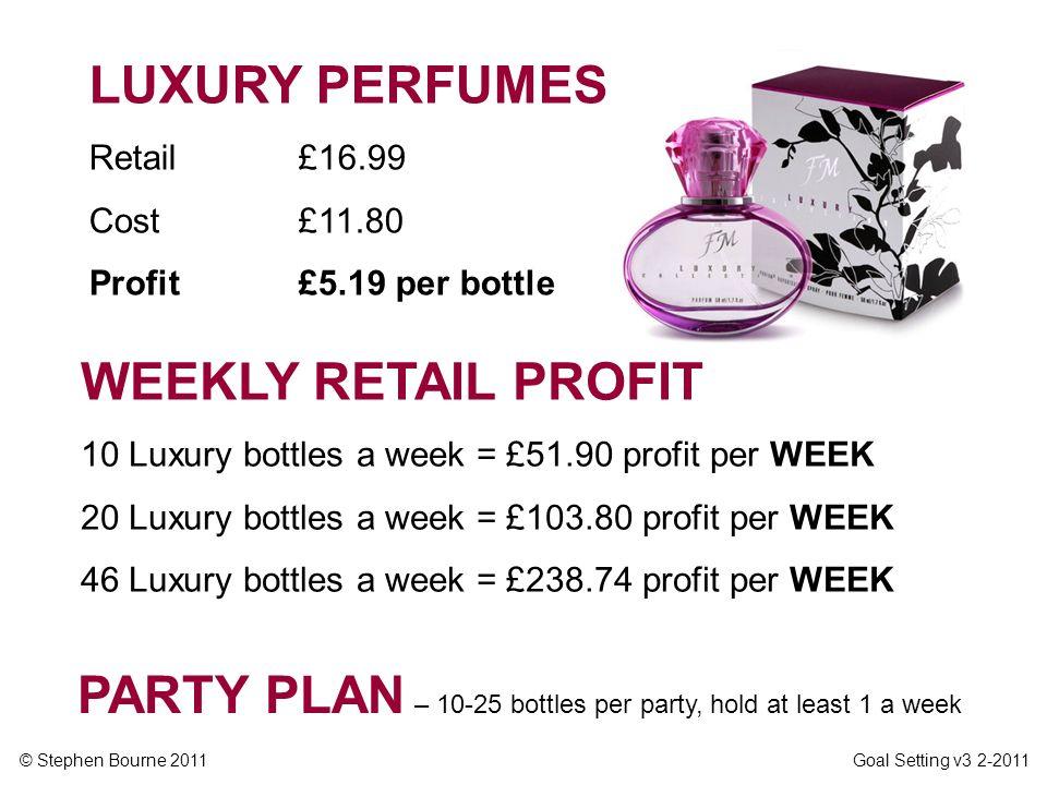 © Stephen Bourne 2011 Goal Setting v3 2-2011 WEEKLY RETAIL PROFIT 10 Luxury bottles a week = £51.90 profit per WEEK 20 Luxury bottles a week = £103.80