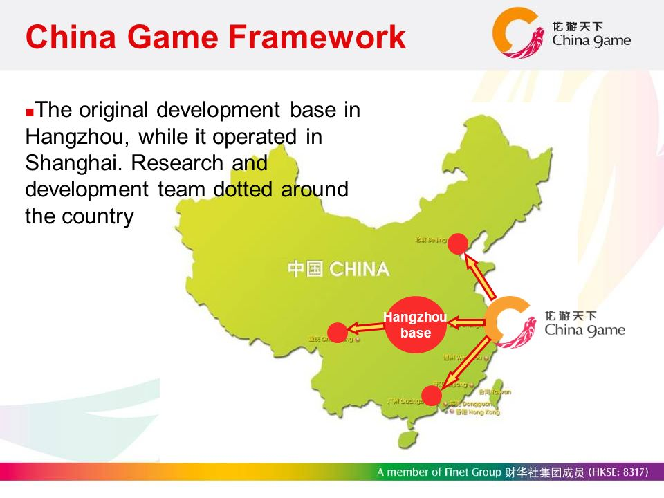 China Game Framework The original development base in Hangzhou, while it operated in Shanghai.