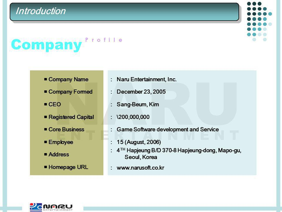 E N T E R T A I N M E N T NARU Company Profile Company Name Company Formed CEO Registered Capital Core Business Employee Address Homepage URL : Naru Entertainment, Inc.