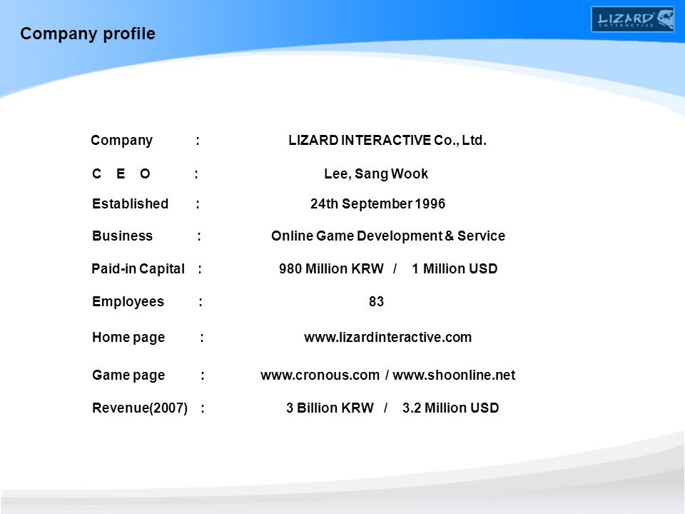 Company : LIZARD INTERACTIVE Co., Ltd.