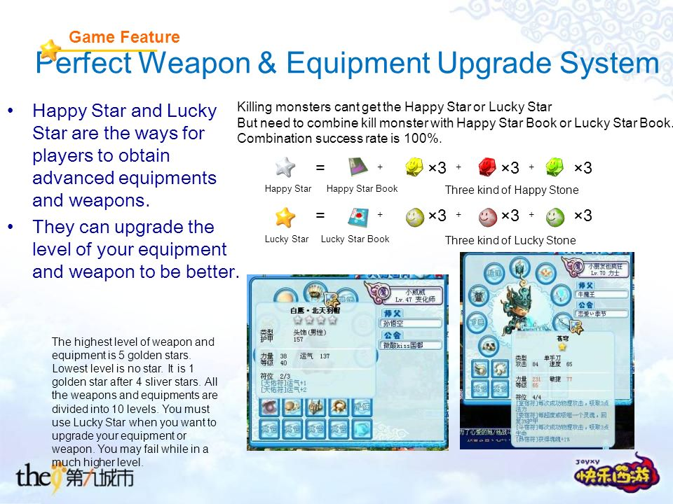 Perfect Weapon & Equipment Upgrade System Happy Star and Lucky Star are the ways for players to obtain advanced equipments and weapons.