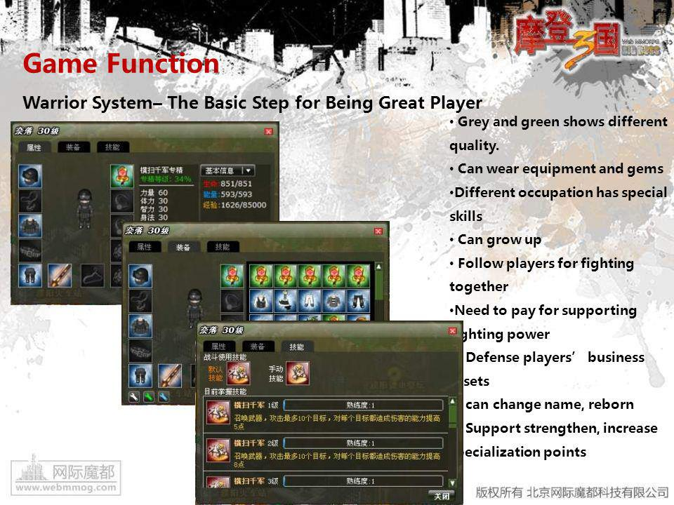 Game Function Warrior System– The Basic Step for Being Great Player Grey and green shows different quality.