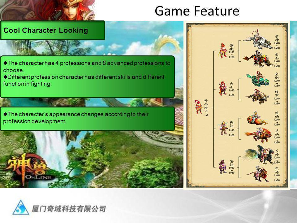 Game Feature Cool Character Looking The character has 4 professions and 8 advanced professions to choose.