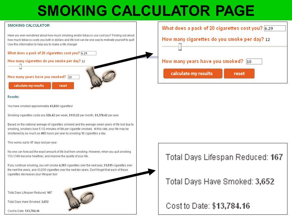 SMOKING CALCULATOR PAGE