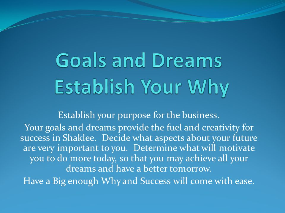 Establish your purpose for the business.