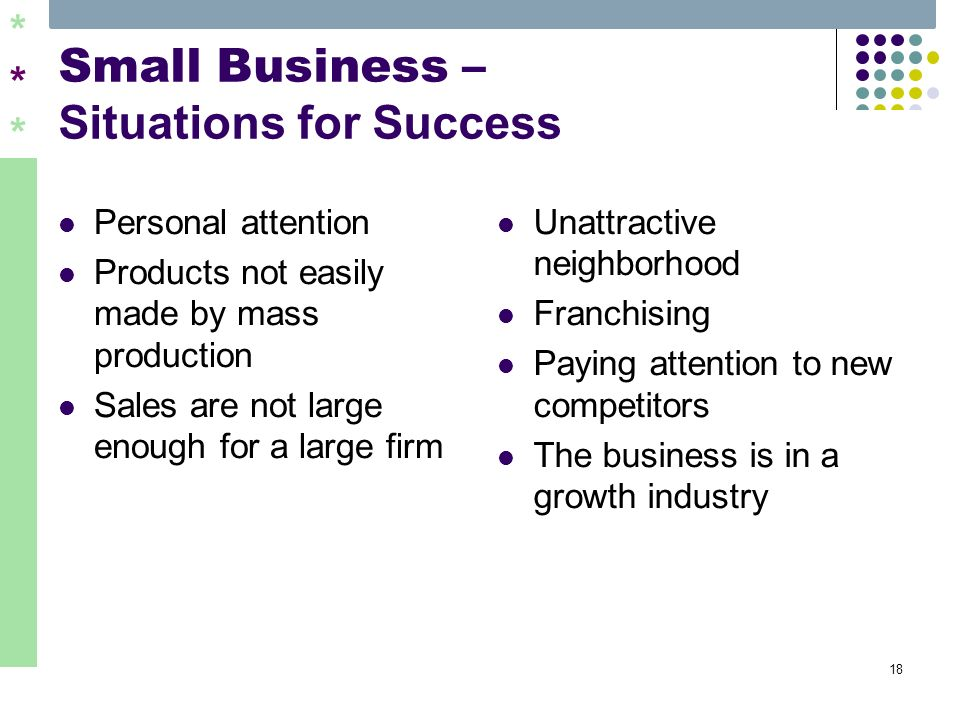 ****** 18 Small Business – Situations for Success Personal attention Products not easily made by mass production Sales are not large enough for a larg