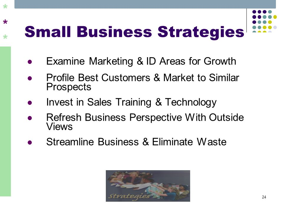 ****** 24 Small Business Strategies Examine Marketing & ID Areas for Growth Profile Best Customers & Market to Similar Prospects Invest in Sales Train