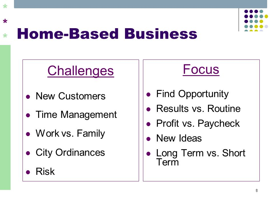 ****** 8 Home-Based Business Challenges New Customers Time Management Work vs. Family City Ordinances Risk Focus Find Opportunity Results vs. Routine