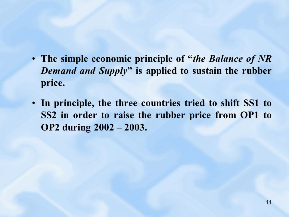 11 The simple economic principle of the Balance of NR Demand and Supply is applied to sustain the rubber price.