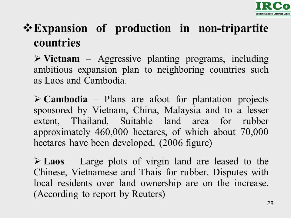28 Expansion of production in non-tripartite countries Vietnam – Aggressive planting programs, including ambitious expansion plan to neighboring countries such as Laos and Cambodia.
