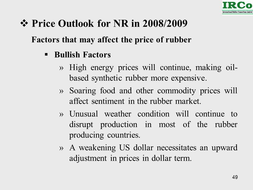 49 Price Outlook for NR in 2008/2009 Factors that may affect the price of rubber Bullish Factors »High energy prices will continue, making oil- based synthetic rubber more expensive.