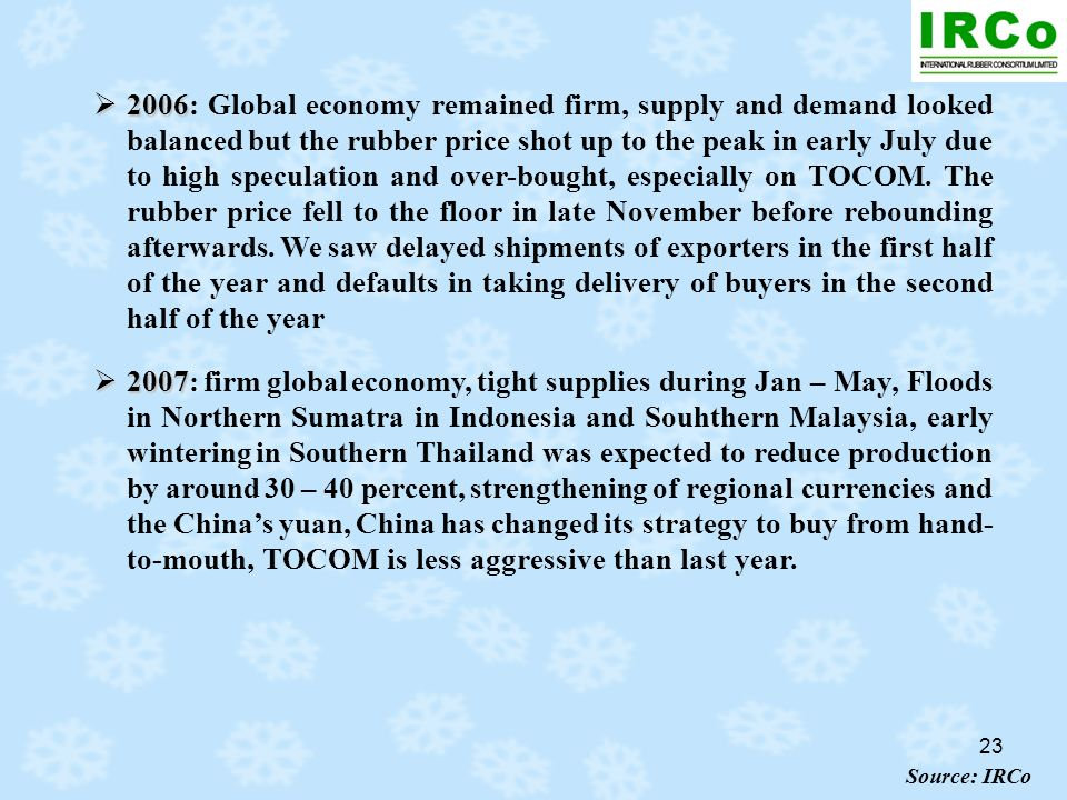 23 2006 2006: Global economy remained firm, supply and demand looked balanced but the rubber price shot up to the peak in early July due to high specu