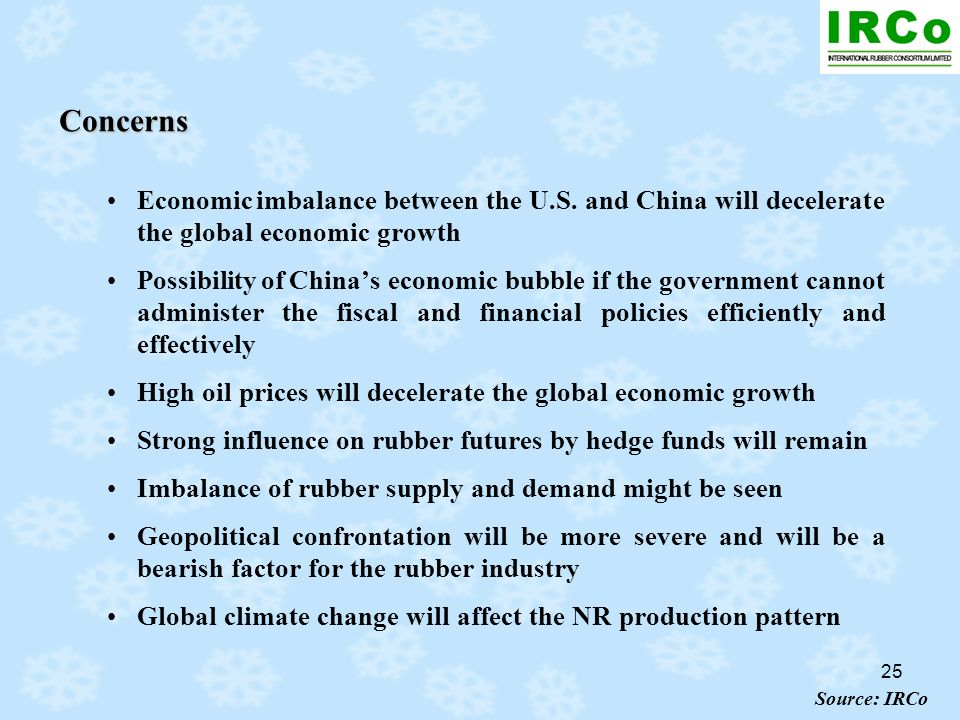 25 Concerns Economic imbalance between the U.S. and China will decelerate the global economic growth Possibility of Chinas economic bubble if the gove