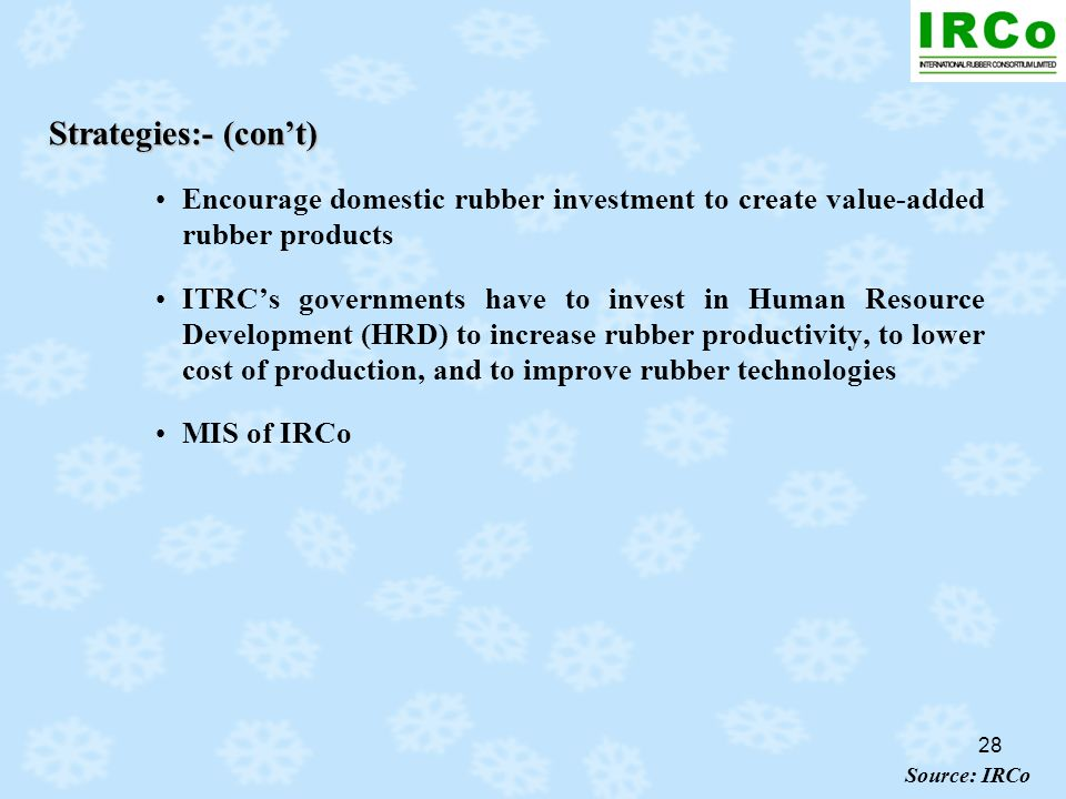28 Strategies:- (cont) Encourage domestic rubber investment to create value-added rubber products ITRCs governments have to invest in Human Resource D