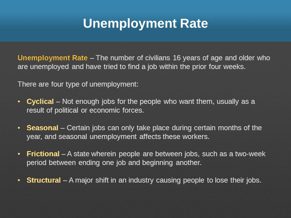 Unemployment Rate Unemployment Rate – The number of civilians 16 years of age and older who are unemployed and have tried to find a job within the prior four weeks.