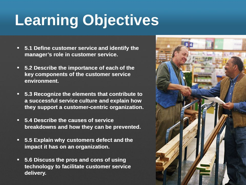 Learning Objectives 5.1 Define customer service and identify the managers role in customer service. 5.2 Describe the importance of each of the key com