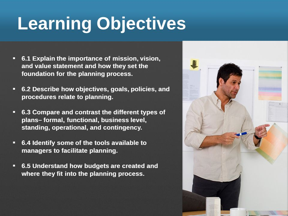 Learning Objectives 6.1 Explain The Importance Of Mission, Vision