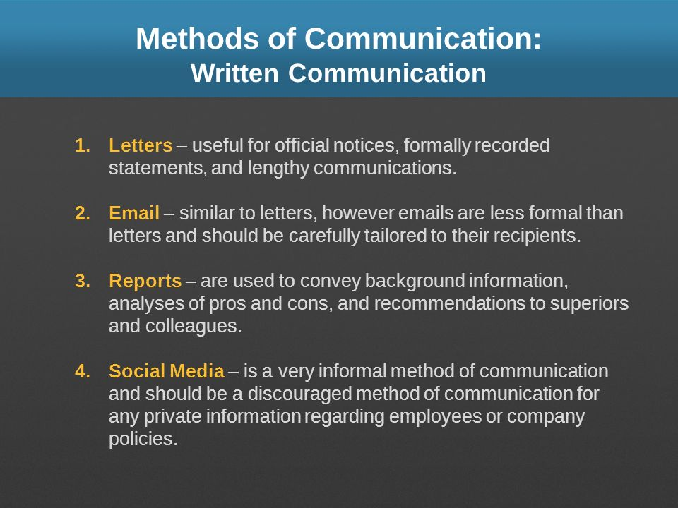 Methods of Communication: Written Communication 1.Letters – useful for official notices, formally recorded statements, and lengthy communications. 2.E