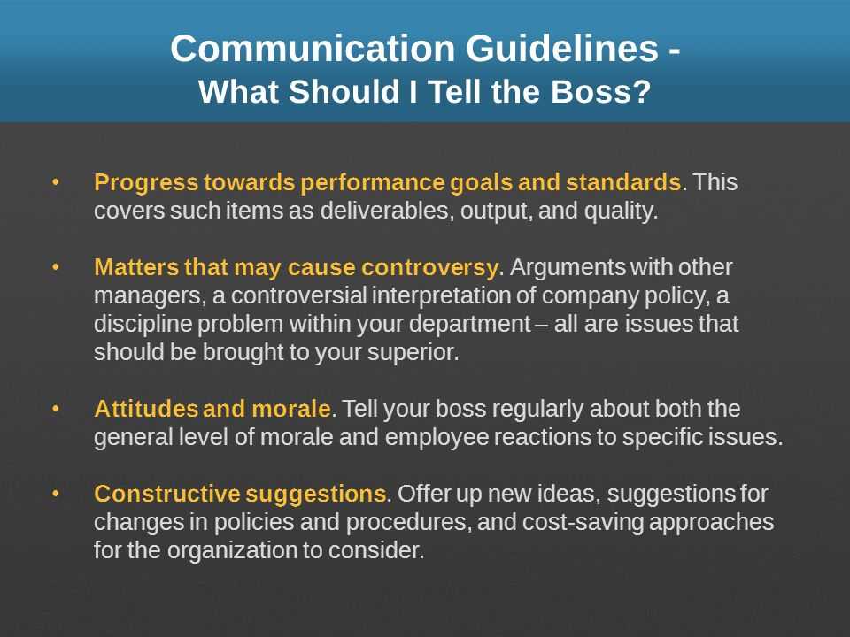 Communication Guidelines - What Should I Tell the Boss? Progress towards performance goals and standards. This covers such items as deliverables, outp