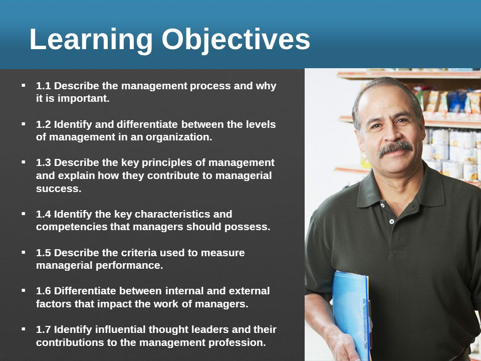 Learning Objectives 1.1 Describe the management process and why it is important. 1.2 Identify and differentiate between the levels of management in an