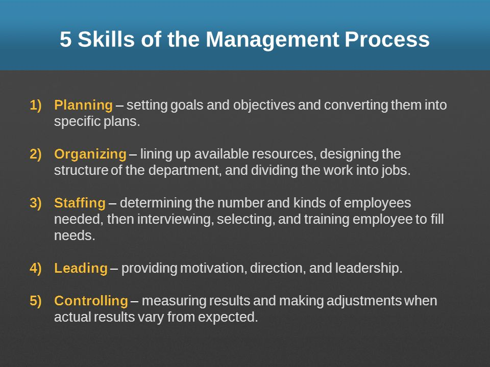 5 Skills of the Management Process 1)Planning – setting goals and objectives and converting them into specific plans. 2)Organizing – lining up availab