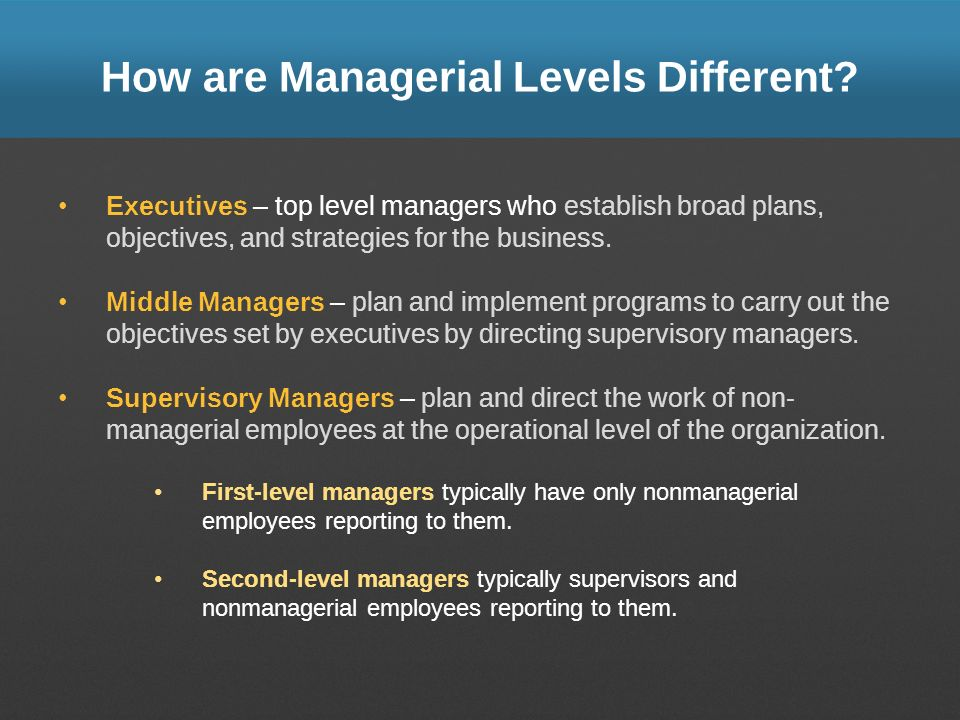 How are Managerial Levels Different? Executives – top level managers who establish broad plans, objectives, and strategies for the business. Middle Ma