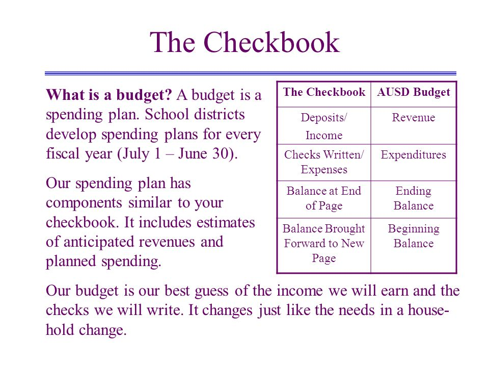 The Checkbook What is a budget? A budget is a spending plan. School districts develop spending plans for every fiscal year (July 1 – June 30). Our spe