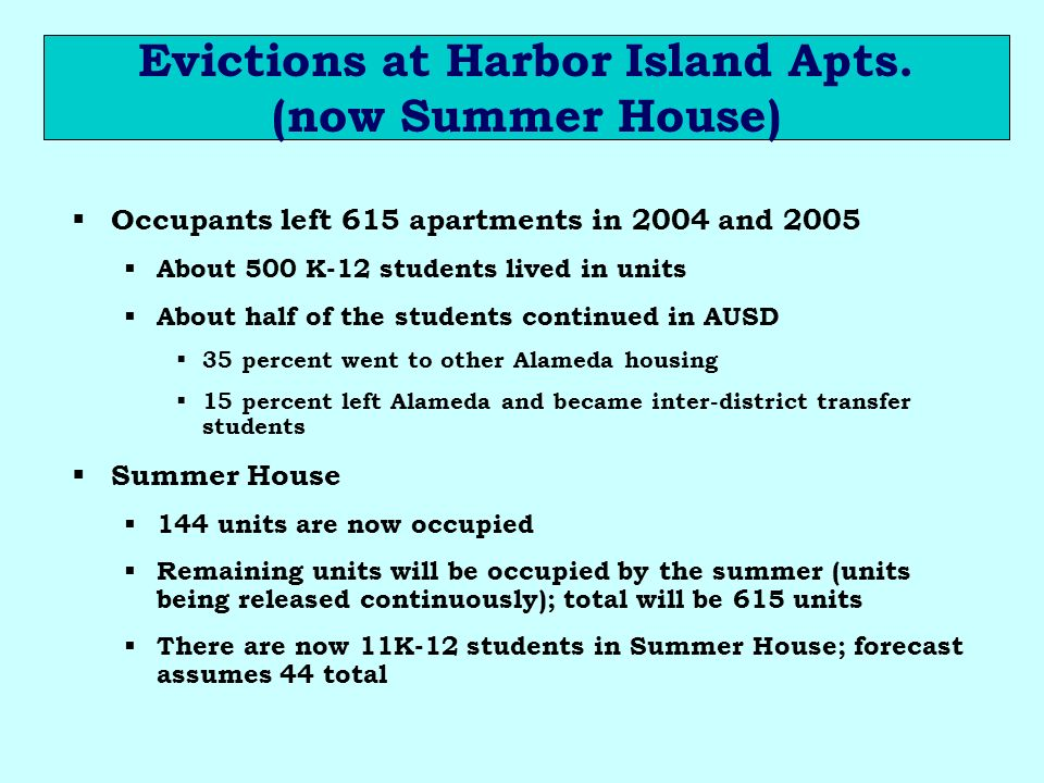 Evictions at Harbor Island Apts.