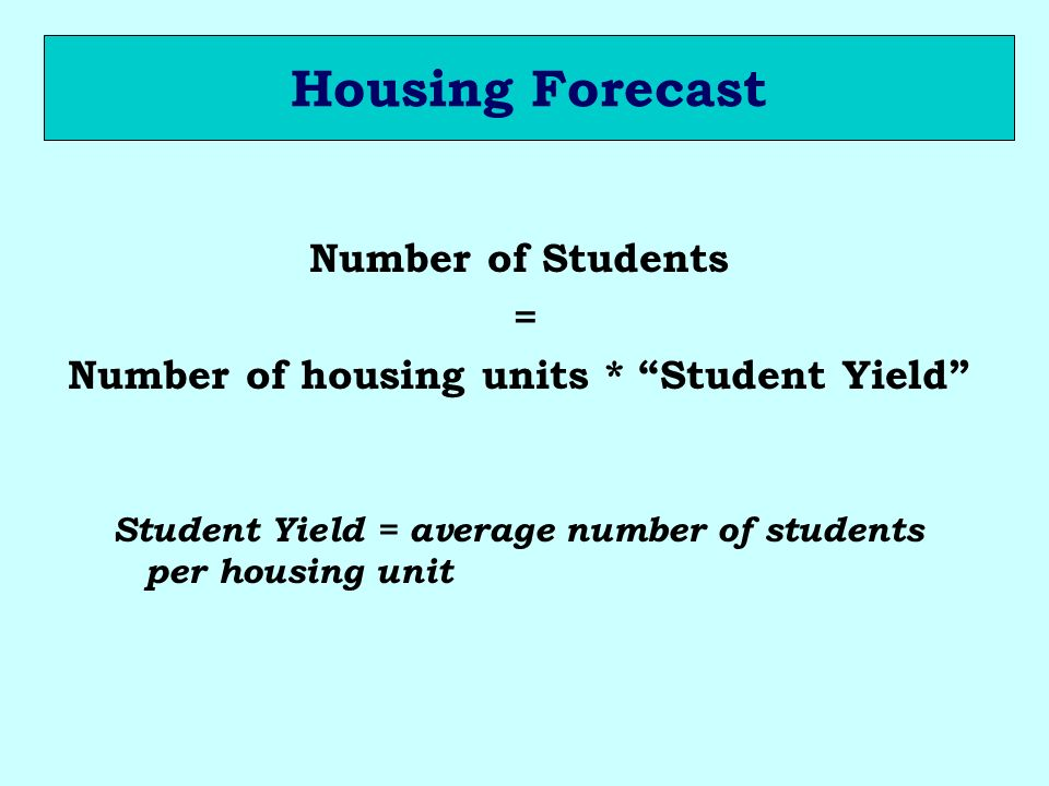 Housing Forecast Number of Students = Number of housing units * Student Yield Student Yield = average number of students per housing unit